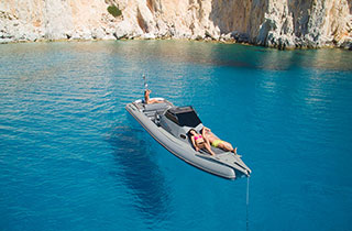 Pleasure boat ride in the Cyclades with a RIB boat